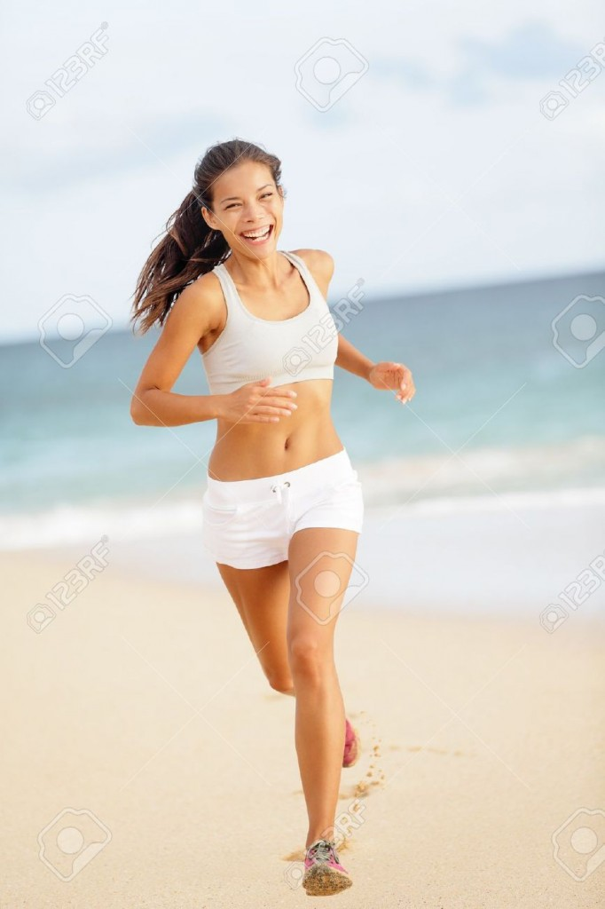 queen of stock photos, running on the beach