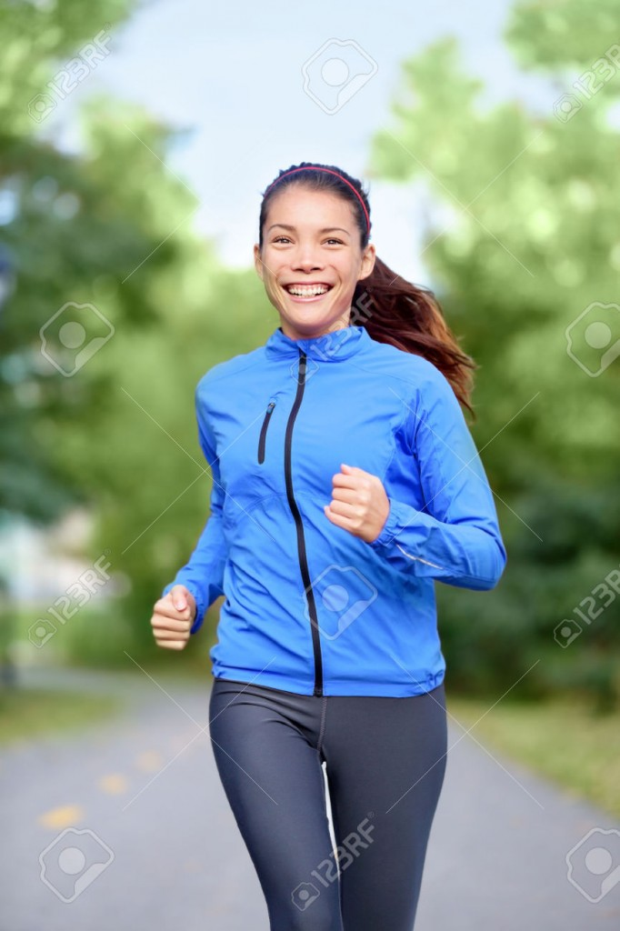 running in a jacket