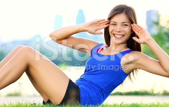 girl next door doing situps