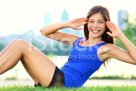 girl next door doing situps