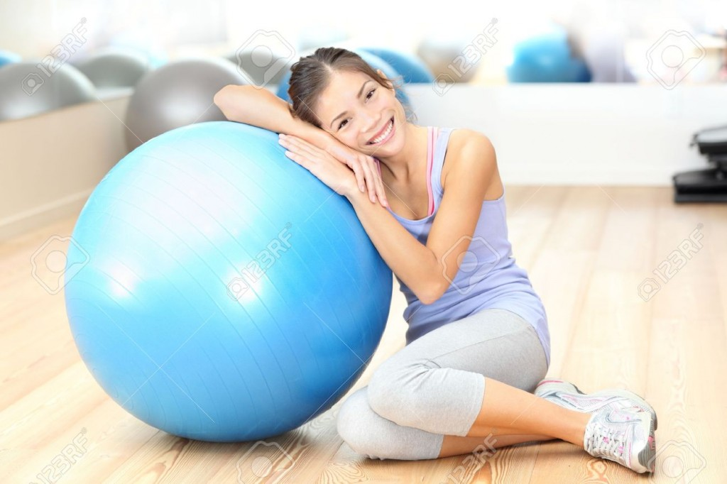 smiling with the exercise ball
