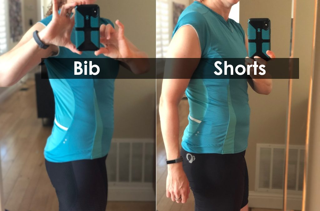 side comparison of bib vs shorts